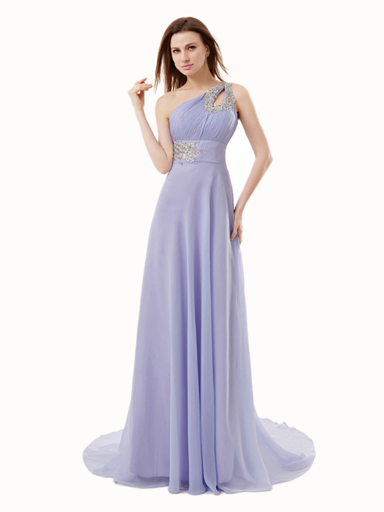 A-line One Shoulder Sleeveless Sequin Appliques Sweep/Brush Train Lavender Chiffon Prom Dress