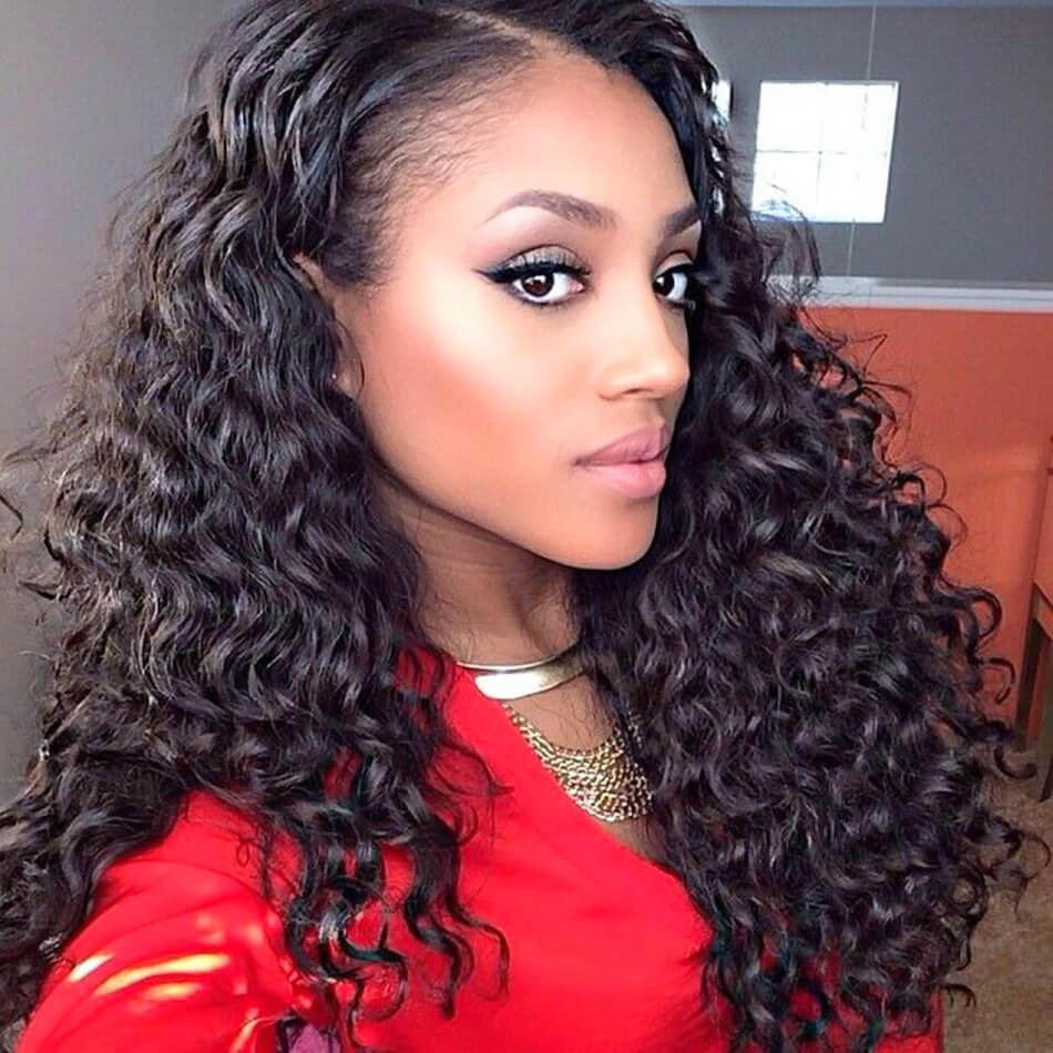 7A Lace Front Wig Brazilian Hair Deep Wave Curly